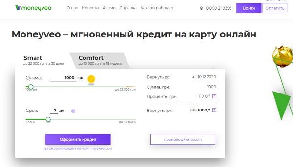 moneyveo взять кредит