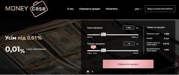 Сайт MoneyCase