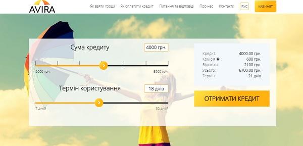 Сайт Avira Credit